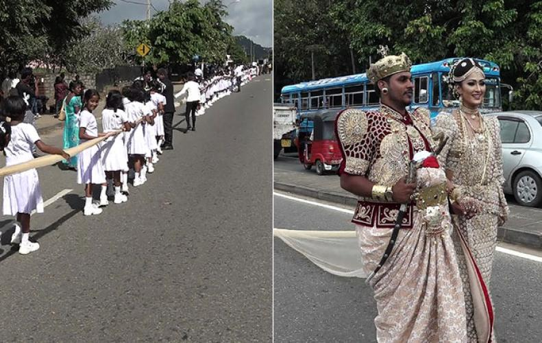 The bride was wearing a 3.2-kilometer long sari, there were 250 girls to be deployed